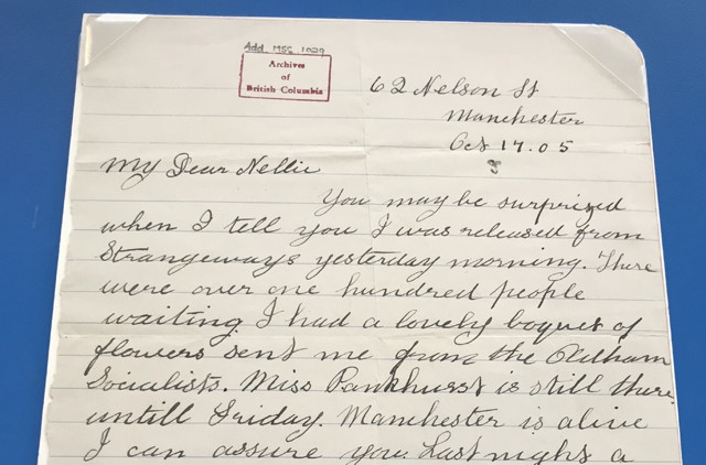 New Annie Kenney letter goes on display at Gallery Oldham