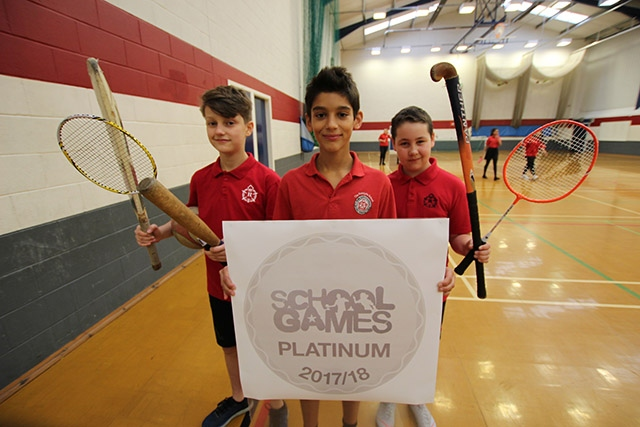 Celebrating the School Games Platinum Award are (left to right) Year 8 students Wade Chadwick, Martim Fernandes and Lewis MacNally