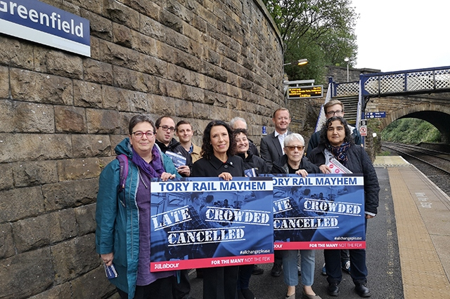 MP Debbie Abrahams meets with campaigners at Greenfield station