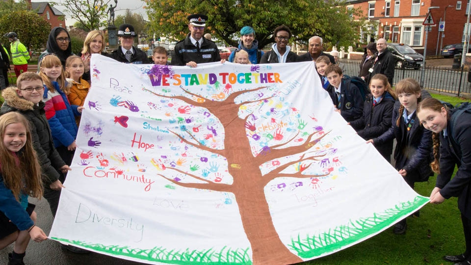 Local school children at the planting of the memorial tree
