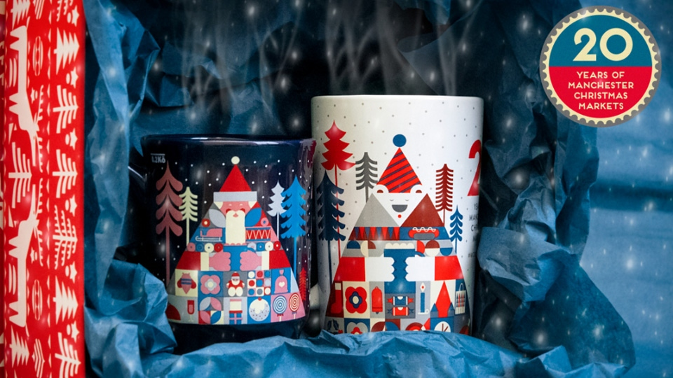 A sneak peak of the new 20th year Manchester Christmas Market mugs