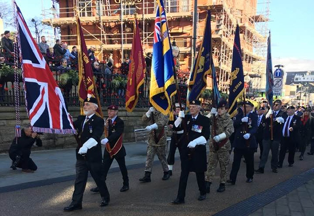 The Remembrance Sunday scene in Oldham town centre yesterday