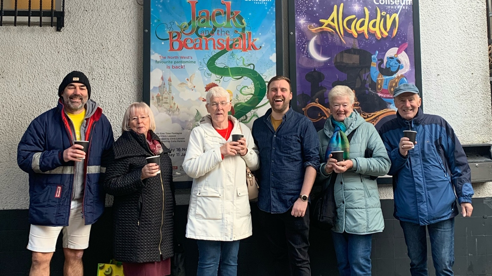 Chris Lawson with panto fans queuing for NEXT YEAR'S pantomime