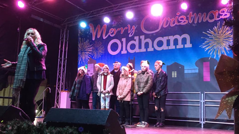 Laura Purdey and her group performing Christmas with You