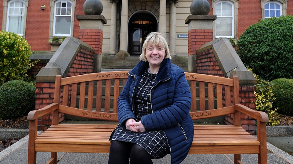 Sharon Quennell - cancer survivor and her new bench