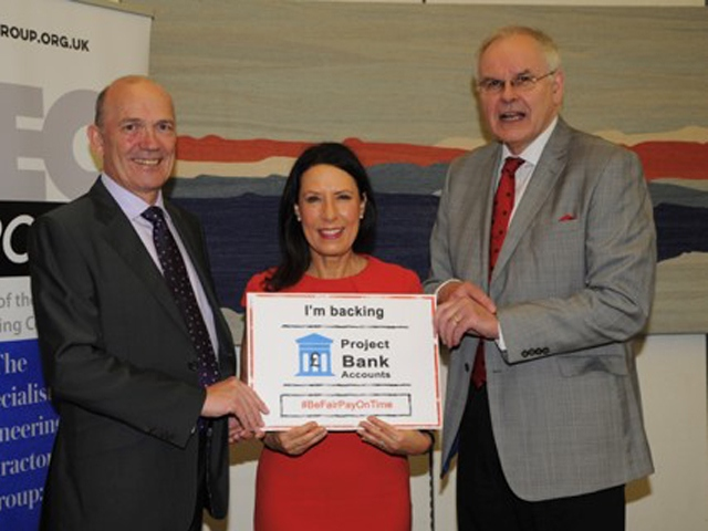 Neil Skinner, owner of Oldham firm Johnson Brothers, with Debbie Abrahams MP, and Rudi Klein, Chief Executive of Specialist Engineering Contractors' (SEC) Group.