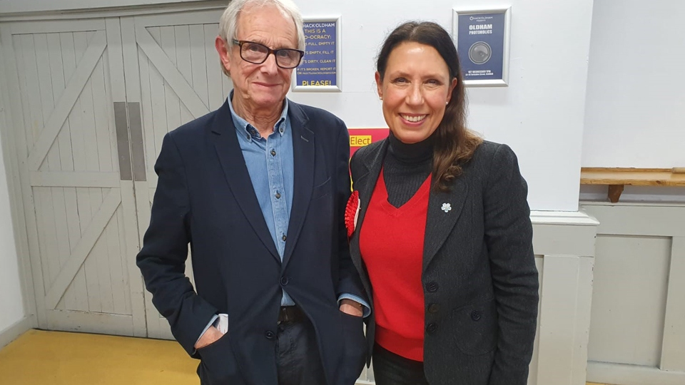 Film Director, Ken Loach, with Debbie Abrahams at Hack Oldham for the screening of his latest film Sorry We Missed You.