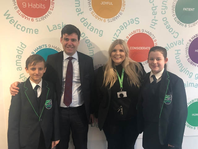 Head Boy Szymon Barszcz (left) and Head Girl Katie May-Bowles (right), with Greater Manchester Mayor Andy Burnham (centre-left) and Oasis Academy Leesbrook Principal Sarah Livesey (centre-right).
