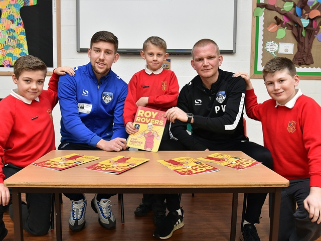Callum Lang and Pete Wild, with the comics and Oldham schoolkids