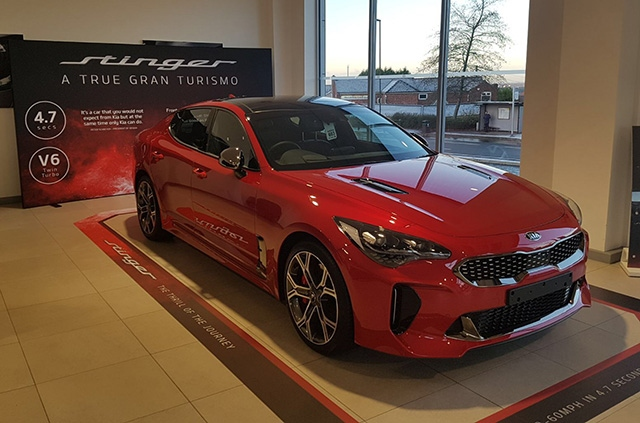 The all-new Kia Stinger, which is available now at OMC Kia in Oldham