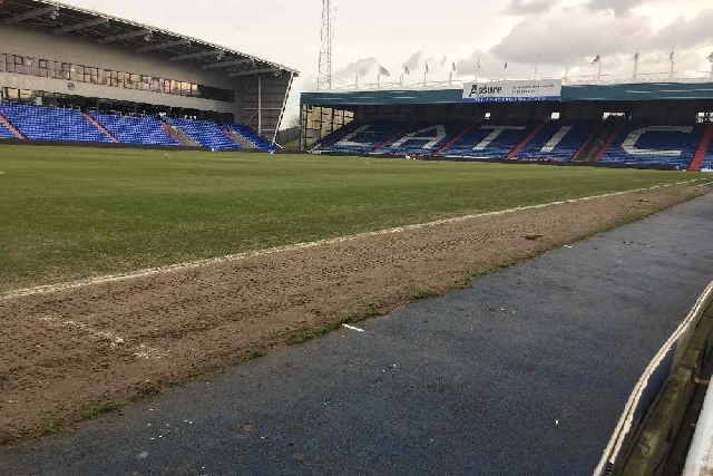 The current state of the Boundary Park pitch