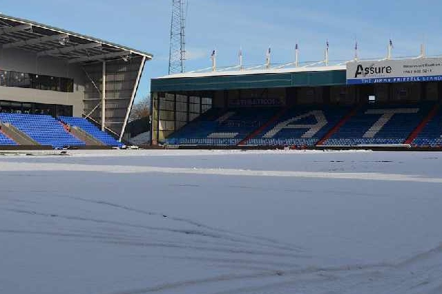 Snow scene at Boundary Park