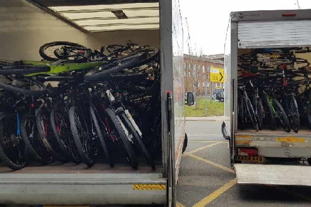It took three vans to remove all the bikes