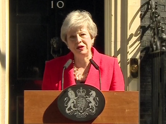 May in tears as she announces resignation