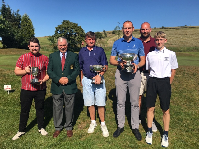 Trophy winners... Andy Harrison (Centenary Trophy), Mike McCafferty (Oldham captain), Mark Riley (District Champion) and Brierley Cup winning teammates Pete Buckley, Charlie Clough and Tom Reeves