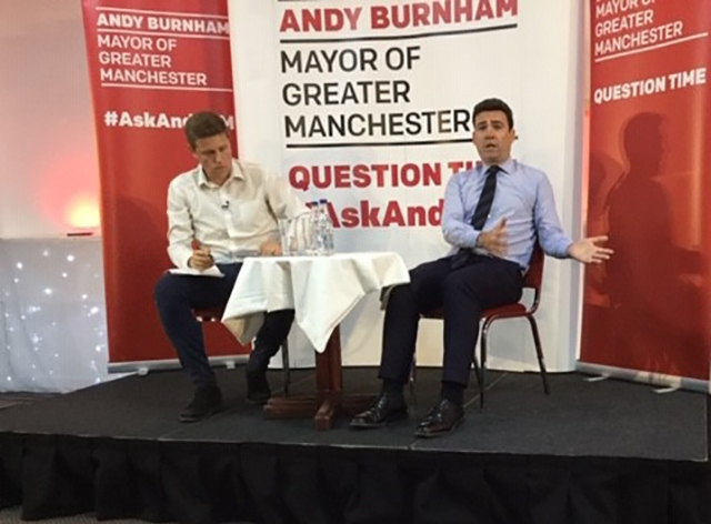 Mr Burnham at an 'Ask Andy' public question time session