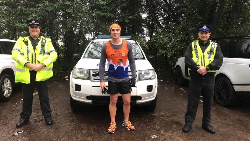 Local hero Kevin Sinfield is running his seventh marathon in seven days today. Picture courtesy of the GMP Saddleworth and Lees Facebook page