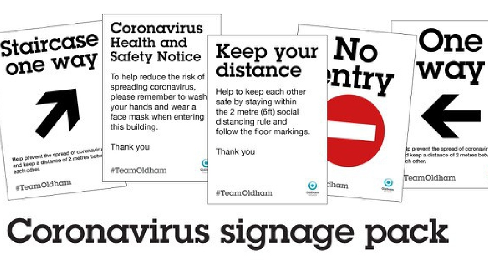 A wide range of signage can be downloaded and printed for display in buildings and workplaces to help ensure social distancing and safety