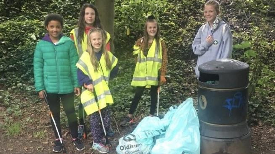 The five youngsters are pictured (left to right) with some of the rubbish: Amy Cummings, Millie Foster, Mary Brierley, Lola Simpson and Alice Winfield