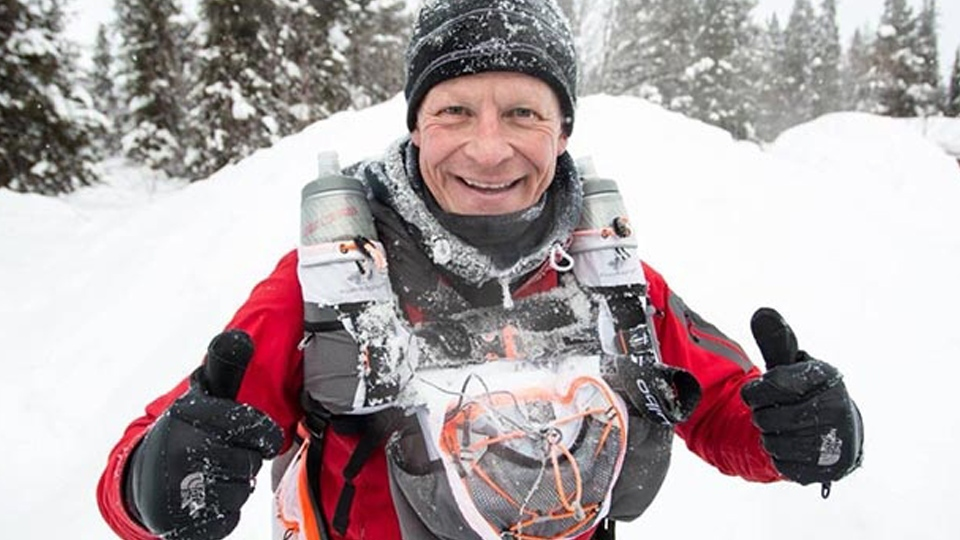 St Joseph's primary school's deputy head Steve Hill MBE during his Arctic Ice Ultra Marathon back in 2018.