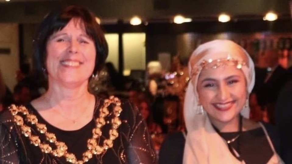 Oldham Youth Mayor Samah Khalil pictured with the town's Mayor, Cllr Ginny Alexander