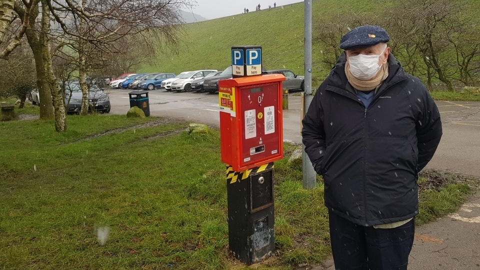Ken Bennett pictured at a busy Dovestone Reservoir car park yesterday