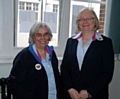 Enid Bell, divisional commander for North Manchester Division of Girlguiding, presented with The Laurel Award by Sue Lomas, region chief commissioner.