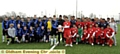 Oldham Boro Under 16's ( blue ) V Urawa Red Diamonds led by captains Oldham's Taylor Melling and Orawa's Toui Noguchi
