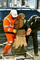 WORKMEN put the beautifully carved new owl on its pearch at Failsworth metrolink stop
