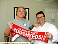 GREAT TO HAVE YOU . . . Roughyeds chairman Chris Hamilton with George Tyson after the player put pen to paper