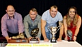 TOP TABLE: Rev Tony Ford (left), forward pair Danny Langtree and Josh Crowley and masseuse Beth Pankiw all picked up trophies in recognition of their efforts at last night�s Oldham Rugby League Club 2014 season awards evening.