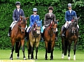 HULME ON A HIGH: the equestrian team on their horses are (left to right): Molly Ditchfield, Kiarra Hulme, Katy Rothwell and Freya Scott.