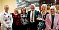 SADDLEWORTH prize time . . . from left: Debra Cockburn, Pam Taylor, lady captain Julie Ward, President Allan Entwistle, lady vice-captain Pam Tomlinson and Sybil Bate.