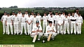 LINE UP . . . Saddleworth and Shaw under-15s players are fronted by team captains Arron Birtwhistle (Shaw, left) and centurion James Howard. PICTURE: PAUL STERRITT