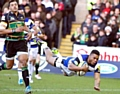 Kyle Eastmond in flight. Picture: Taking Pictures (Sport) Ltd.