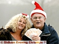 Roy Taylor on his final Christmas giveaway last month, with his daughter Debbie