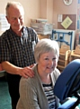 RELAXATION . . . Margaret Crowther with volunteer Peter Hibbert