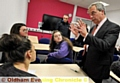 POLITICS lecture . . . UKIP leader Nigel Farage speaks to students at Oldham College