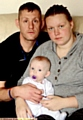 Benefits blackout: Peter Warburton and his family, fiancee Lisa and baby Ava-Lilly