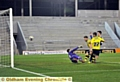 WE�RE ON OUR WAY . . . Rhys Turner pounces to score his and Athletic�s first goal.