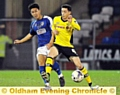 LUKE WOODLAND . . . the young midfielder was one of Athletic�s leading lights in the defeat of Rochdale on Tuesday night.