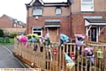 Flowers at the scene of last week's fire in Mossley.