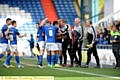 AT THE DOUBLE . . . Dean Holden celebrates with Athletic�s two-goal hero Dominic Poleon.
