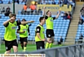 Danny Philliskirk (second, left) celebrates after putting Athletic ahead at the Ricoh Arena last night.