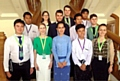 Sam Davys (front, right) with fellow representatives and Aung San Suu Kyi (front, centre), opposition leader and Nobel peace prize winner