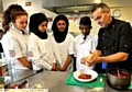 Simon with pupils (l-r) Katherine Birnie, Arub Hamma, Ayesha Sajid and Milad Sarwar.