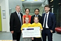 MONEY for Mahdlo (back, from left) Steve Kilroy, Oldham Business Awards steering group chairman, with Louise Slater, steering group members Kashif Ashraf and Adam Husband, (front): Mackenzie Kielty and Natasha Flanagan, representing Mahdlo.