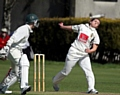 CROSS FIRE . . . bowler Kate, pictured in action for Heywood, is heading Down Under this winter.