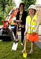 GROUNDBREAKING development . . . Andrea Seal and Lucy Thomas at the start of building work for the new proton beam centre at The Christie