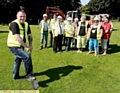 DIGGING deep: Kenny Heaton cuts the ground at the new play area.
